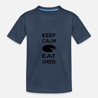 KEEP CALM Eat Cheese Multi Color Vector Kaas Kazen - Teenager biologisch T-shirt