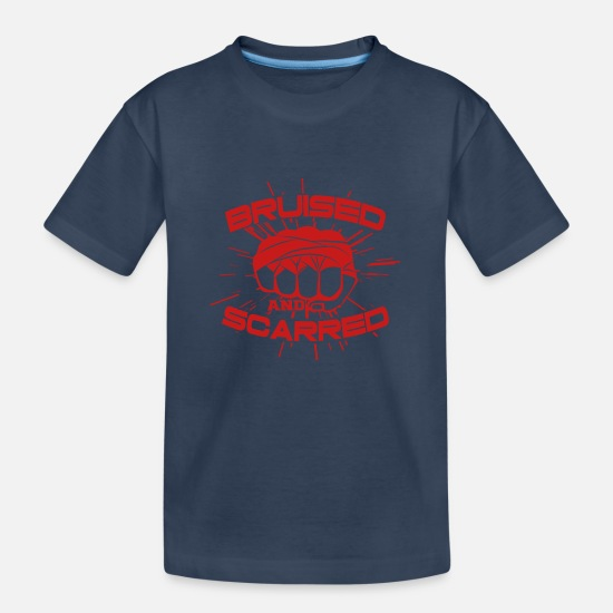 Martial Arts T-Shirts - BRUISED AND SCARRED - Teenager Organic T-Shirt navy