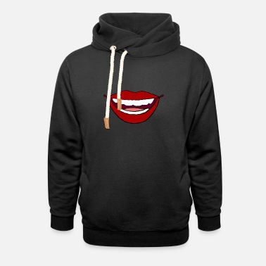 Mouth red mouth gift lips kiss tongue teeth mouth - Unisex Shawl Collar Hoodie
