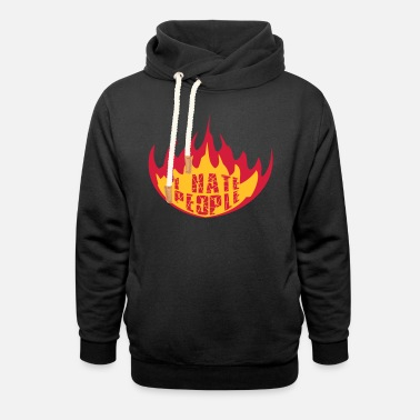 fire flames hot burn cracks scratch prohibited - Unisex Shawl Collar Hoodie