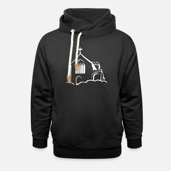 Religious Hoodies & Sweatshirts - Church on clouds - Unisex Shawl Collar Hoodie black