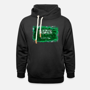 Arabia Background with flag of Saudi Arabia with feathers - Unisex Shawl Collar Hoodie