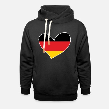 Flag Of Germany Germany, German Flag Heart, I Love Germany - Unisex Shawl Collar Hoodie