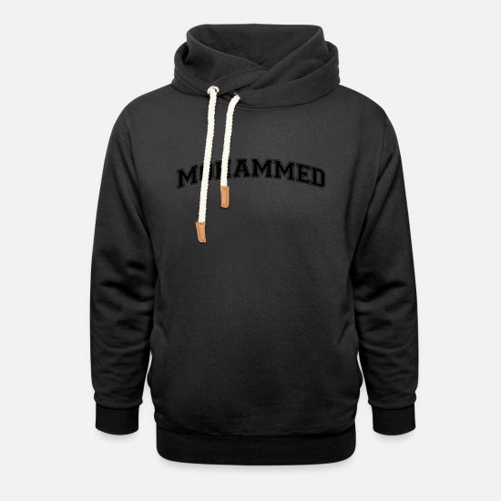 College Hoodies & Sweatshirts - mohammed name arched college style text - Unisex Shawl Collar Hoodie black