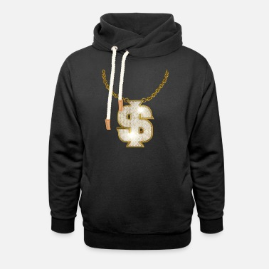 Rapper Oldschool Gold Rapper Dollar Chain - Unisex Shawl Collar Hoodie