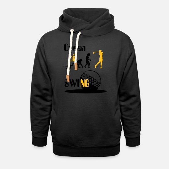 Golf Hoodies & Sweatshirts - Evolution Women's Golf Queen of Swing. - Unisex Shawl Collar Hoodie black