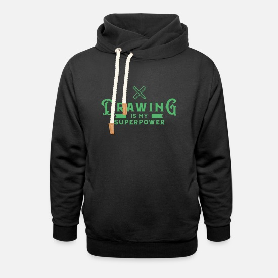 Painter Hoodies & Sweatshirts - Drawing painter drawing painter drawing - Unisex Shawl Collar Hoodie black