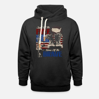 Soldiers Land of the FREE Home of the BRAVE, gift idea for - Unisex Shawl Collar Hoodie