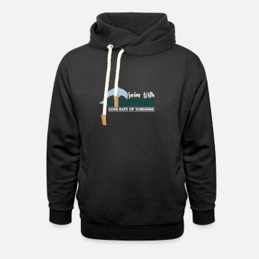 Open Sea dolphins sunshine water swimming - Unisex Shawl Collar Hoodie