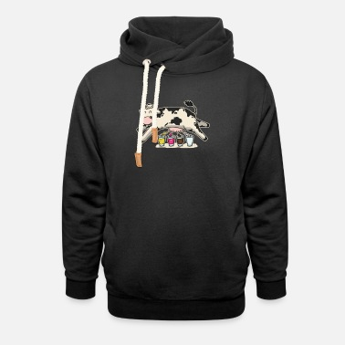 Milk Funny milk shake fast food milk cow - Unisex Shawl Collar Hoodie