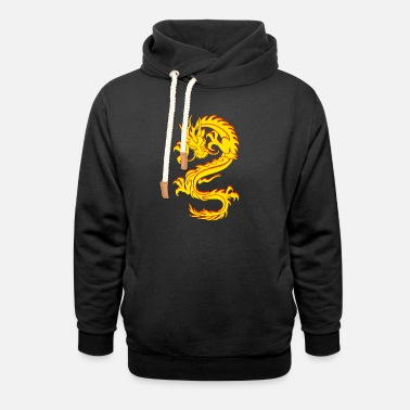 Chinese Dragon Dragon Tribal Tattoo - Unisex Shawl Collar Hoodie