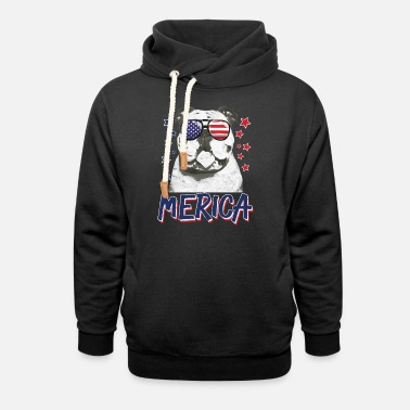 Merica Bulldogs Dog 4th Of July USA Cadeau - Sweat à capuche cache-cou unisexe
