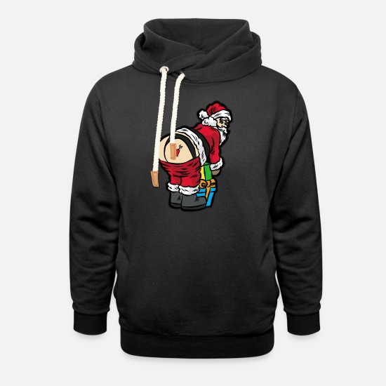 Ass Hoodies & Sweatshirts - Sexy Santa Claus in thong underwear - Unisex Shawl Collar Hoodie black