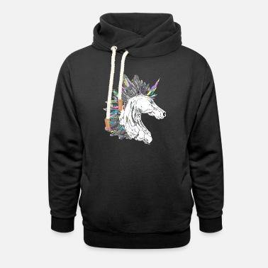 Rainbow Gemstone Unicorn - Unisex Shawl Collar Hoodie