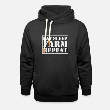 Eat Farmer Shirt Eat Sleep Farm Repeat - Unisex sjaalkraag hoodie