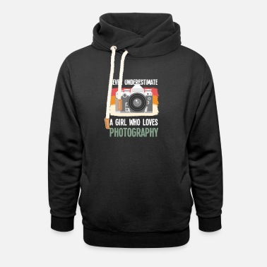 Funny Photography Vintage Photographer Girl Camera Photography Gift - Unisex Shawl Collar Hoodie