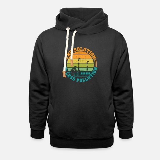 Activist Hoodies & Sweatshirts - The Solution is less Pollution - Unisex Shawl Collar Hoodie black