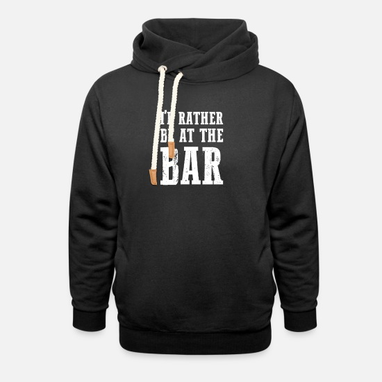 Bar Hop Hoodies & Sweatshirts - At The Bar gift for Bar Enthusiasts - Unisex Shawl Collar Hoodie black