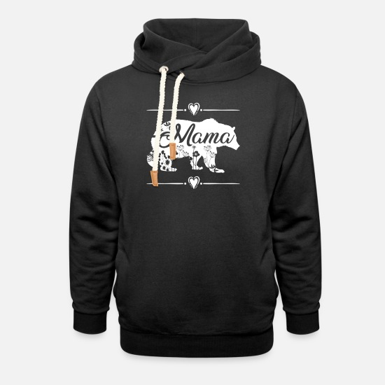 Mama Pullover & Hoodies - Beautiful Mama Bear with floral decoration - Unisex Schalkragen Hoodie Schwarz