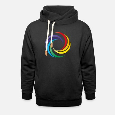 Circle with all chakras, yoga, rainbow colors - Unisex Shawl Collar Hoodie