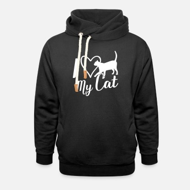 I love my cat heart love - Unisex Shawl Collar Hoodie