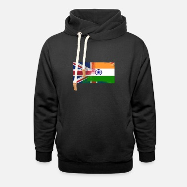 India British Indian Half India Half UK Flag - Unisex Shawl Collar Hoodie