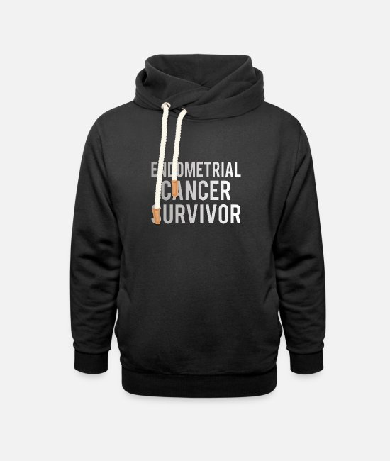 Ribbons Hoodies & Sweatshirts - Endometrial Cancer: Endometrial Cancer Survivor - Unisex Shawl Collar Hoodie black