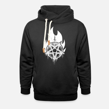 Norsk Svartmetall Burning black metal pentagram with cross - Unisex Shawl Collar Hoodie