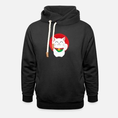 Japan Cat Maneki Neko Japan lucky cat gift - Unisex Shawl Collar Hoodie