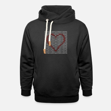 Code Binary Codes Heart - Unisex Shawl Collar Hoodie