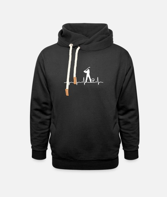 Christmas Hoodies & Sweatshirts - Golfers heartbeat - Unisex Shawl Collar Hoodie black