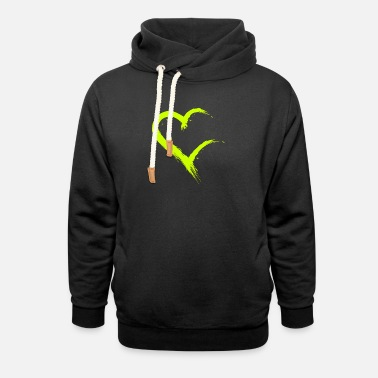 Heart incomplete heart brush open yellow - Unisex Shawl Collar Hoodie