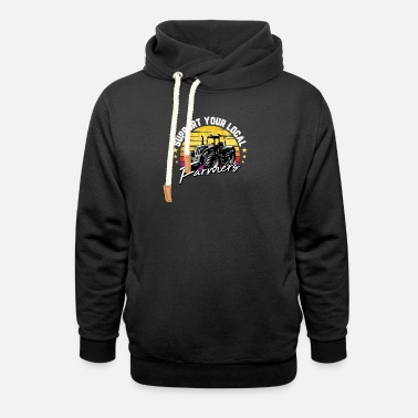 Cow Funny Farm Gift Support Your Local Farmers For - Unisex Shawl Collar Hoodie