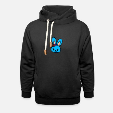 Easter Bunny Blue rabbit head - Unisex Shawl Collar Hoodie