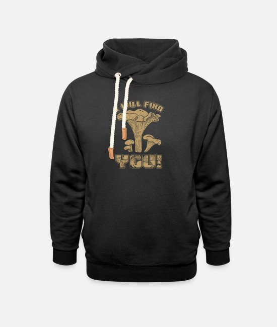 Fungal Hoodies & Sweatshirts - Morel Hunter Fungi Mushrooming Botany Agriculture - Unisex Shawl Collar Hoodie black