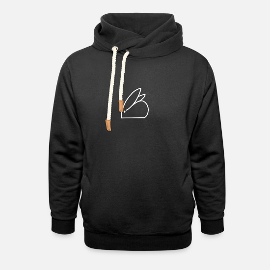 Stick Figure Hoodies & Sweatshirts - Minimalistic Rabbit - Unisex Shawl Collar Hoodie black