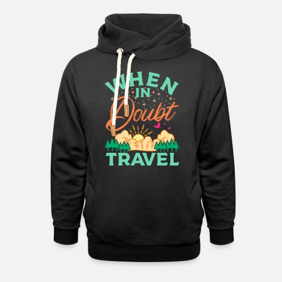 Travel Hoodies & Sweatshirts - TRAVEL | Travel hiking T-shirt - Unisex Shawl Collar Hoodie black