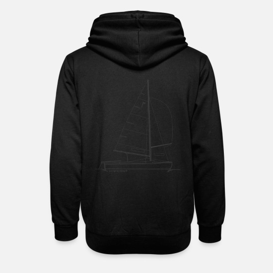 Sailboat Hoodies & Sweatshirts - Graphic of a pirate dinghy for shirts & mugs - Unisex Shawl Collar Hoodie black