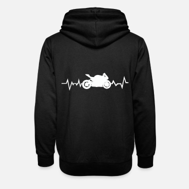 Motorcycle Driver Heartbeat Heartbeat Heart Rate - Unisex Shawl Collar Hoodie