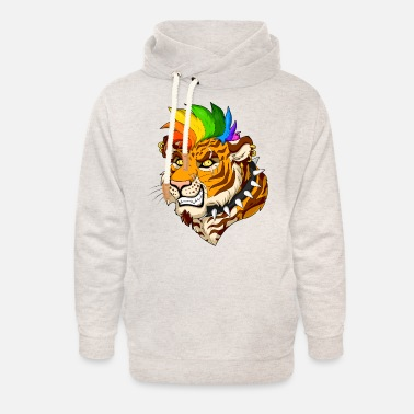 Hard Rock Punk Tiger - Unisex Shawl Collar Hoodie