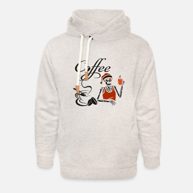 Latte Macchiato Coffee cup skeleton coffee cafe - Unisex Shawl Collar Hoodie