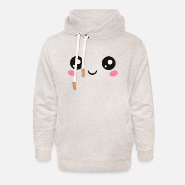 Kawaii Happy Kawaii Eyes, Manga Face, Anime, Comics - Sweat à capuche cache-cou unisexe