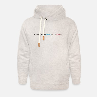 Amour replace hate with love - Sweat à capuche cache-cou unisexe