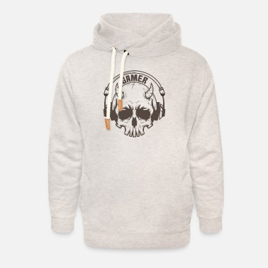 Online Gamer skull with horns and headset - Unisex Shawl Collar Hoodie