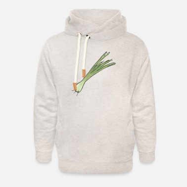 Spring Small leek, onion with roots - Unisex Shawl Collar Hoodie