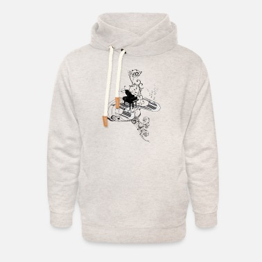 Piano Music, piano with key - Unisex Shawl Collar Hoodie