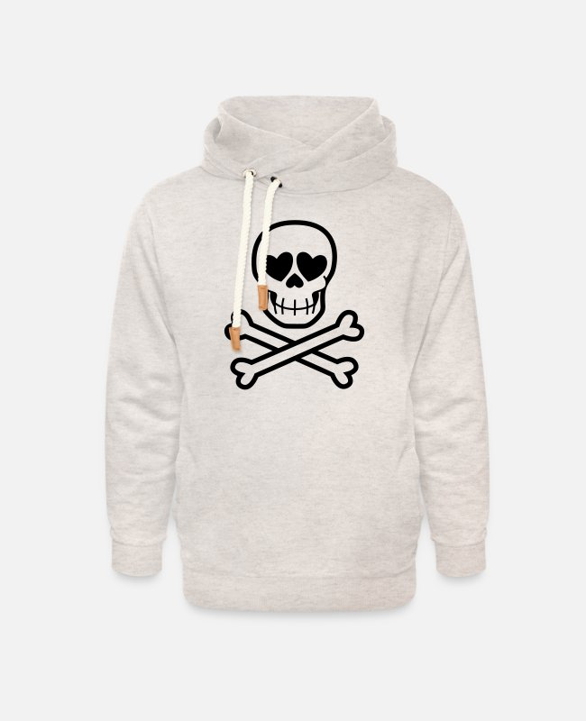 Skull And Crossbones Hoodies & Sweatshirts - Eros & Thanatos Skull and Crossbones by Cheerful - Unisex Shawl Collar Hoodie heather oatmeal