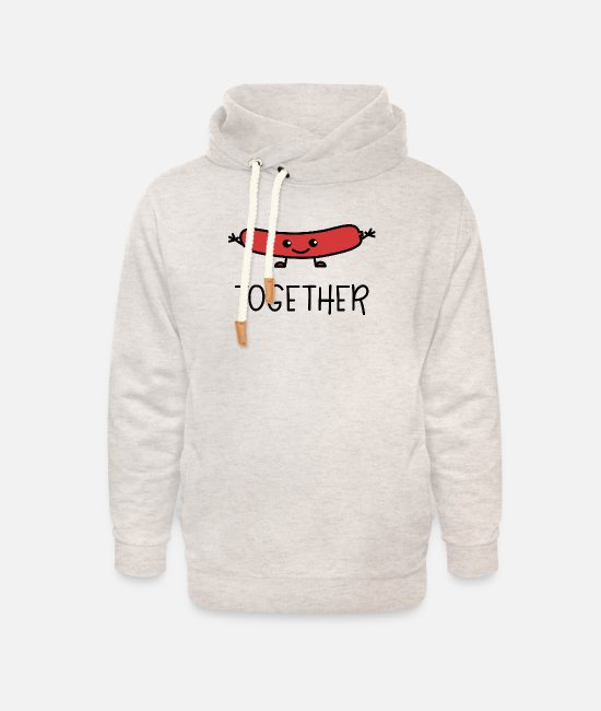 Par Sudaderas - Better Together Partnerlook (Part2) Hot Dog - Sudadera con capucha cuello alto unisex beige jaspeado