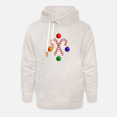 Candy Baubles & Candy Canes - Unisex Shawl Collar Hoodie