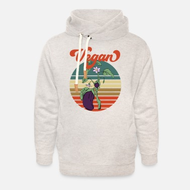 Bed Eggplant retro old school design garden gift - Unisex Shawl Collar Hoodie